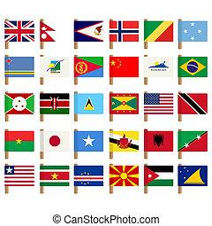 wereld, vlag, iconen, set, 5