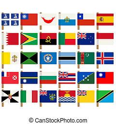 wereld, vlag, iconen, set, 6