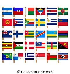 wereld, vlag, iconen, set, 7