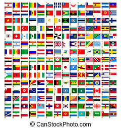 wereld, vlag, iconen, set