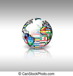 wereld, vlaggen, bol