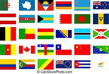 wereld, vlaggen
