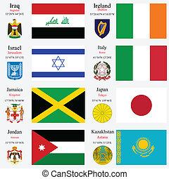 wereld, vlaggen, en, hoofdsteden, set, 11