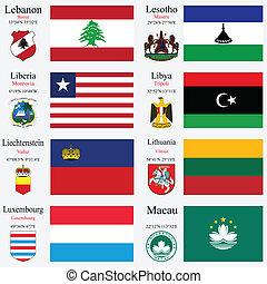 wereld, vlaggen, en, hoofdsteden, set, 13