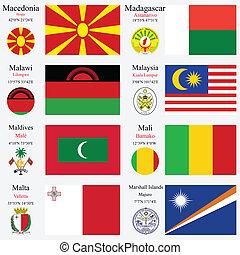 wereld, vlaggen, en, hoofdsteden, set, 14