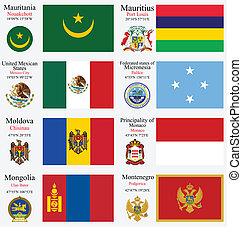 wereld, vlaggen, en, hoofdsteden, set, 15