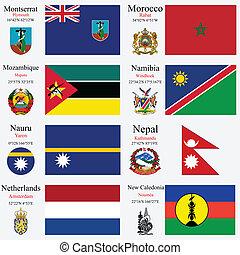 wereld, vlaggen, en, hoofdsteden, set, 16