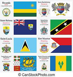 wereld, vlaggen, en, hoofdsteden, set, 20