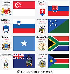 wereld, vlaggen, en, hoofdsteden, set, 22