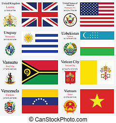 wereld, vlaggen, en, hoofdsteden, set, 26