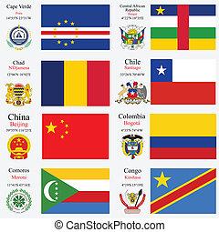 wereld, vlaggen, en, hoofdsteden, set, 5