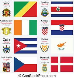 wereld, vlaggen, en, hoofdsteden, set, 6