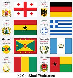 wereld, vlaggen, en, hoofdsteden, set, negen