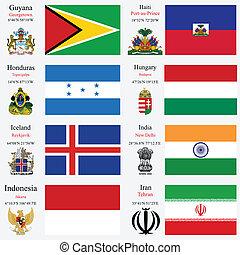 wereld, vlaggen, en, hoofdsteden, set, tien