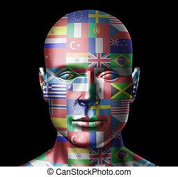 wereld, vlaggen, gezicht