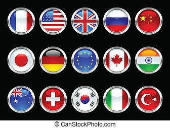 wereld, vlaggen, glanzend