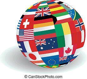 wereld, vlaggen, illustratie