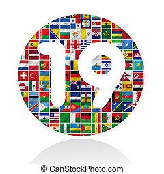 wereld, vlaggen, met, nineteen