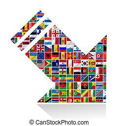 wereld, vlaggen, met, richtingwijzer