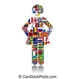 wereld, vlaggen, met, vrouwen