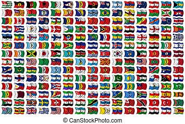 wereld, vlaggen, set