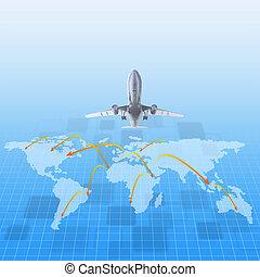 wereld, vliegtuig, ongeveer