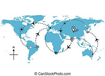 wereld, vliegtuig, vlucht, reizen, plannen, aansluitingen