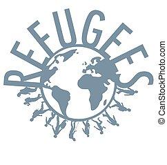 wereld, vluchteling, concept, woord, ongeveer
