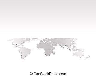 wereld, vrijstaand, kaart