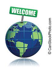 wereld, welkom, illustratie