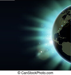 wereldbol, concept, eclips, zonopkomst