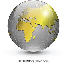 wereldbol, goud
