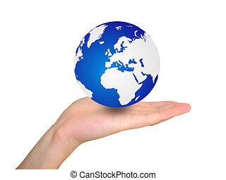 wereldbol, in, hand