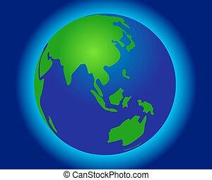 wereldbol, landkaarten, groene, -in