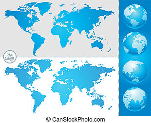 wereldbol, landkaarten