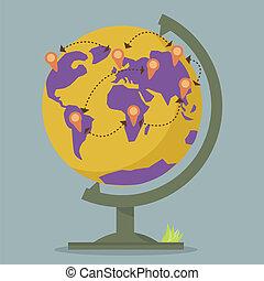 wereldbol, netwerk, landkaarten