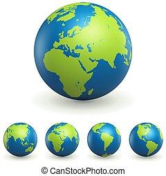 wereldbol, set, 3d, tekens & borden