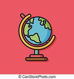 wereldbol, vector, pictogram