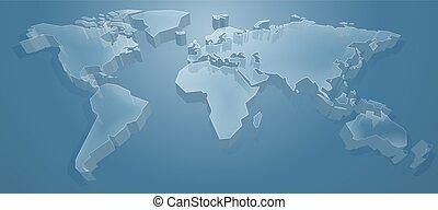 wereldkaart, 3d, achtergrond