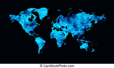 wereldkaart, 3d, render