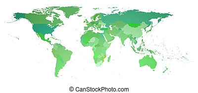 wereldkaart, 3d, vertolking