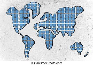 wereldkaart, bedekt, in, zonne, panelen