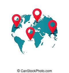 wereldkaart, bestemming, spelden, concept, van, globaal,...