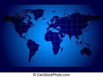 wereldkaart, blauwe