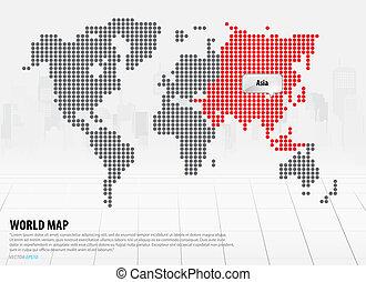 wereldkaart, continenten, (asia)