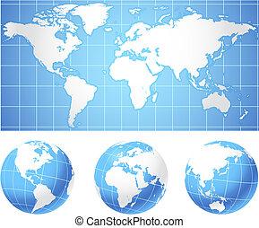 wereldkaart, en, bollen