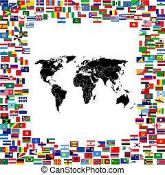wereldkaart, ingelijst, met, wereld, vlaggen