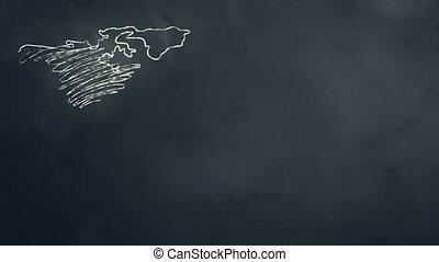wereldkaart, krabbelen, op, chalkboard