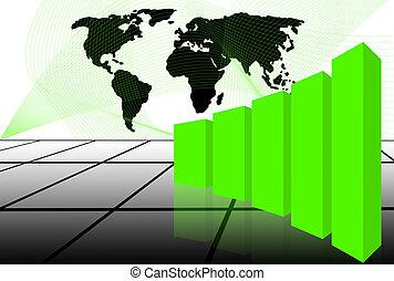 wereldkaart, met, 3d, tabel