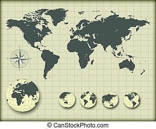 wereldkaart, met, aarde, bollen